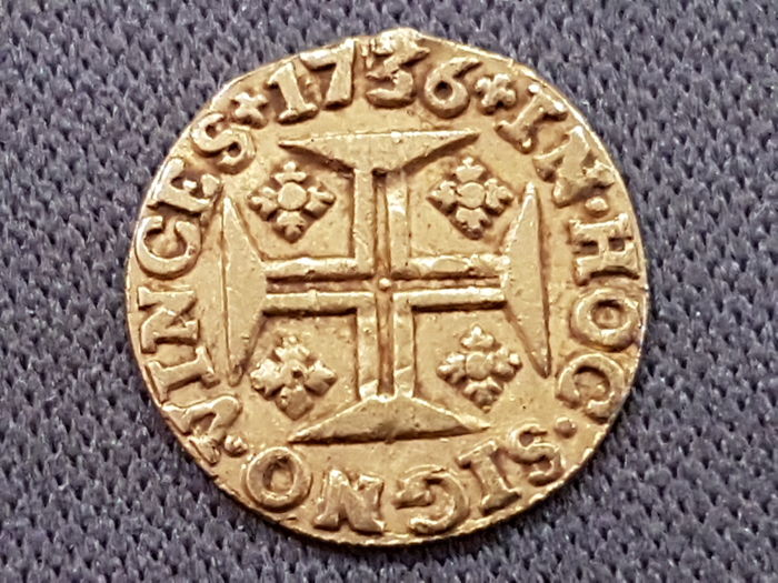 Monarchy of Portugal - D João V ( 1706-1750 ) - Pinto (480 Reis) - 1736 - Gold