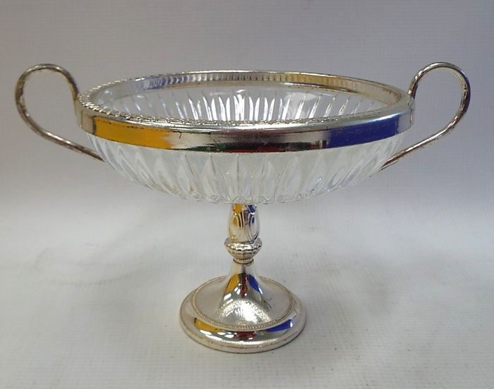 Raised glass bowl with handles and, silver, Made in England, by Brama