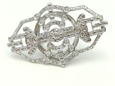 Art Déco-style cocktail ring in 18 kt white gold with 98 brilliant-cut diamonds of 0.50 ct