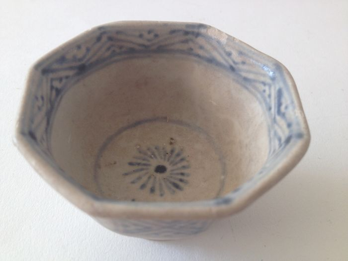 14th-15th Century Early Ming Dynasty blue and white porcelain wine cup with flower and geometrical decoration Ancient China