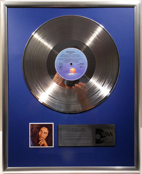 "Bob Marley - Legend - 12"" Island Record platinum plated record by WWA Awards"