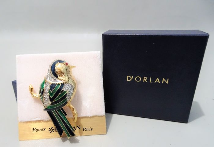 Signed D'ORLAN - 22kt Gold Bird Brooch New York - Like New, In original box - 1960s