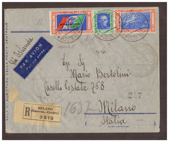 Italy, Kingdom 1933 - Balbo's North Atlantic Crossing, Airmail Triptych of L.5.25 + L.19.75 'I-LONG' used on aerogram for Milan - Sass.  No  51I