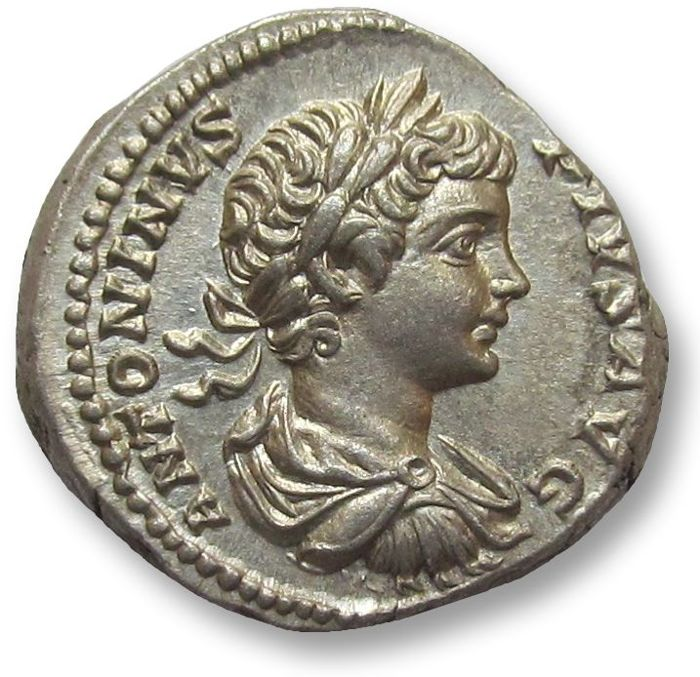 Roman Empire - AR denarius, Caracalla (197-217 A.D.), Rome 201 A.D. - superb portrait of young Caracalla