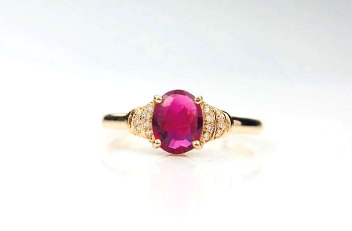 18k  gold ring with Tourmaline  1.16ct. size  54mm -**No Reserve**Free resizing