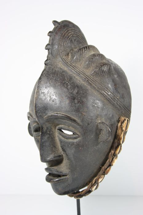 Large bronze face mask - BAULE - Ivory Coast