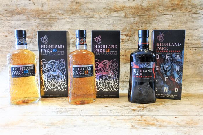 Highland Park 10 YO - 12 YO - Dragon Legend - in original boxes - 3 Bottles