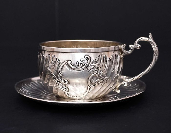 Sterling Silver cup and saucer,    -Henri Gabert ,   -France 1882-1891
