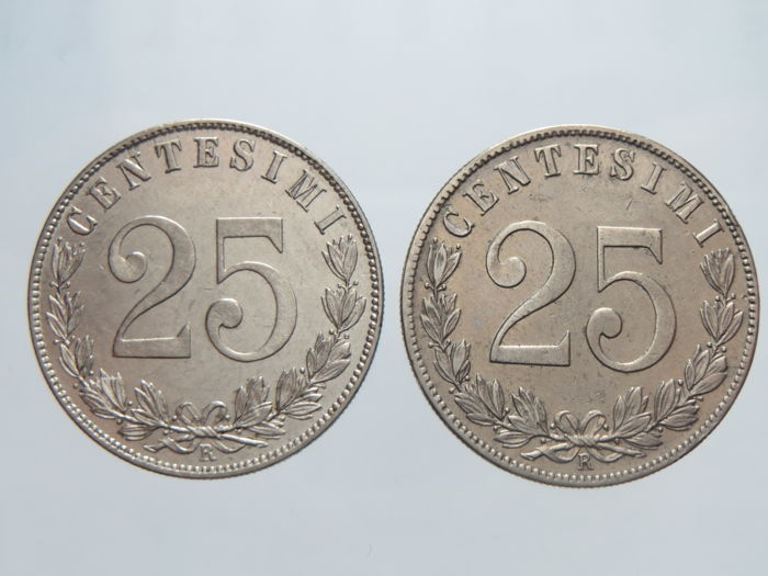 Kingdom of Italy - 25 Cent, 1902 and 1903 - Vittorio Emanuele III (2 coins)