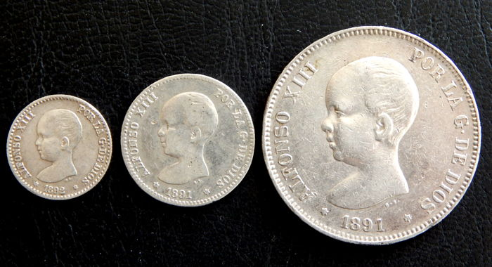 Spain - Alfonso XIII - 50 Centimos 1892 *9-2, 1 Peseta 1891 *91 (scarce) and 5 Pesetas 1891 *-91 - 3 Coins - Silver