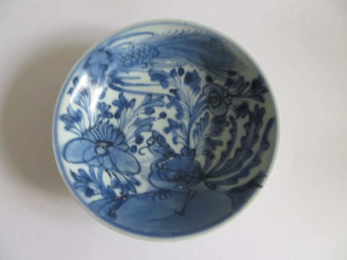 Chinese blue and white porcelain dish with rich flower and ritual phoenix decoration - 140 X 38 mm