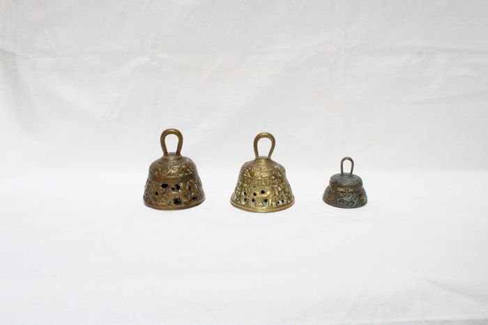 Lot of three antique monastery bell, Tetramorph evangelist - 20th century
