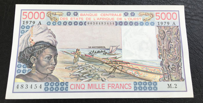 West African States - Ivory Coast - 5000 Francs 1979 - Pick 108Ac