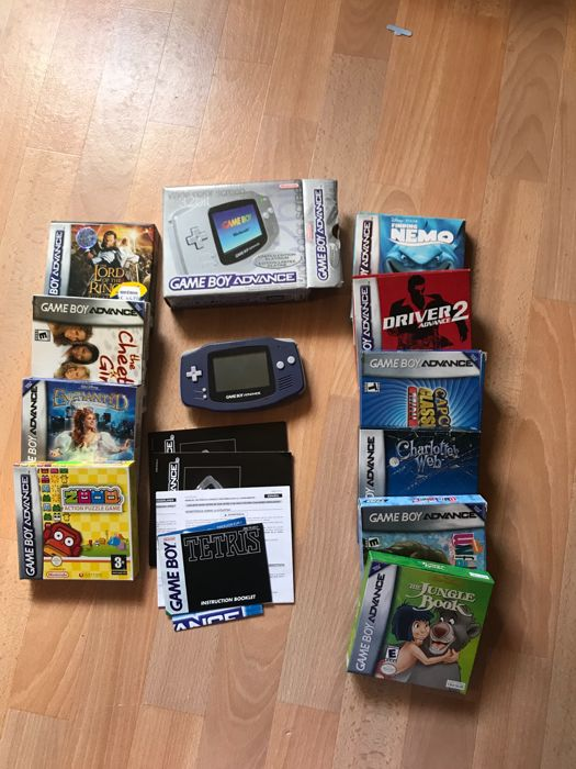 Nintendo Gameboy Advance boxed with 9 boxed games