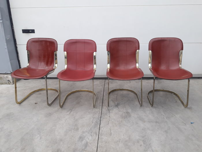 Cidue - 4 Chairs with Original bordeaux Leather Seat