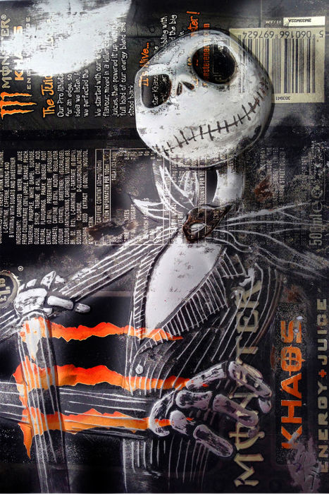 Hand Signed PRINT - By Chris Duncan - JACK SKELETON on MONSTER ENERGY can- 2017