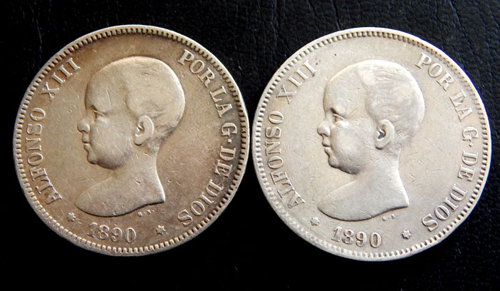 Spain - Alfonso XIII - 5 pesetas - Years 1890 MPM & 1890 PGM - 2 Coins - Silver