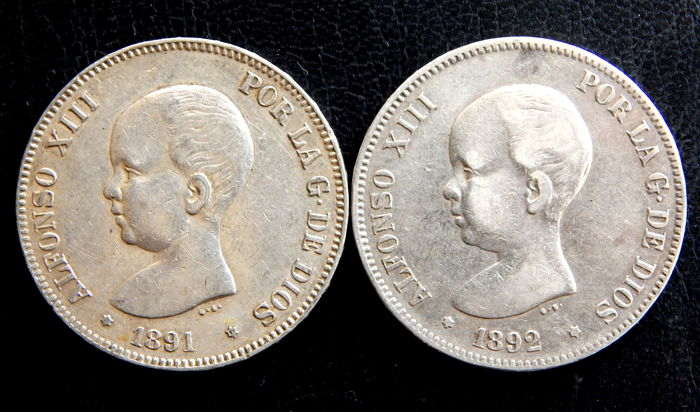 Spain - Alfonso XIII - 5 Pesetas years 1891 *18-91 PGM & 1892 *18-92 PGM - 2 coins - Silver