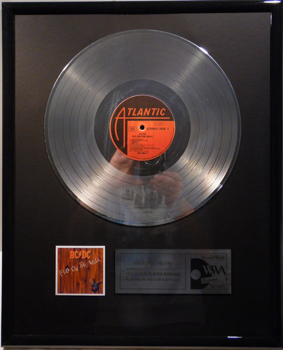 "AC/DC - Fly on the Wall - 12"" Atlantic Record platinum plated record by WWA Awards"