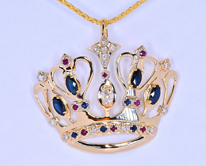 Sapphires, Ruby, Diamonds, Queen necklace ***NO RESERVE price!***