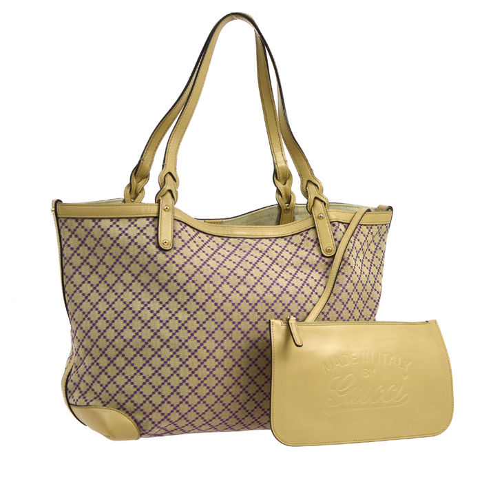 Gucci -  Tela Beige e viola modanature in pelle Shopper