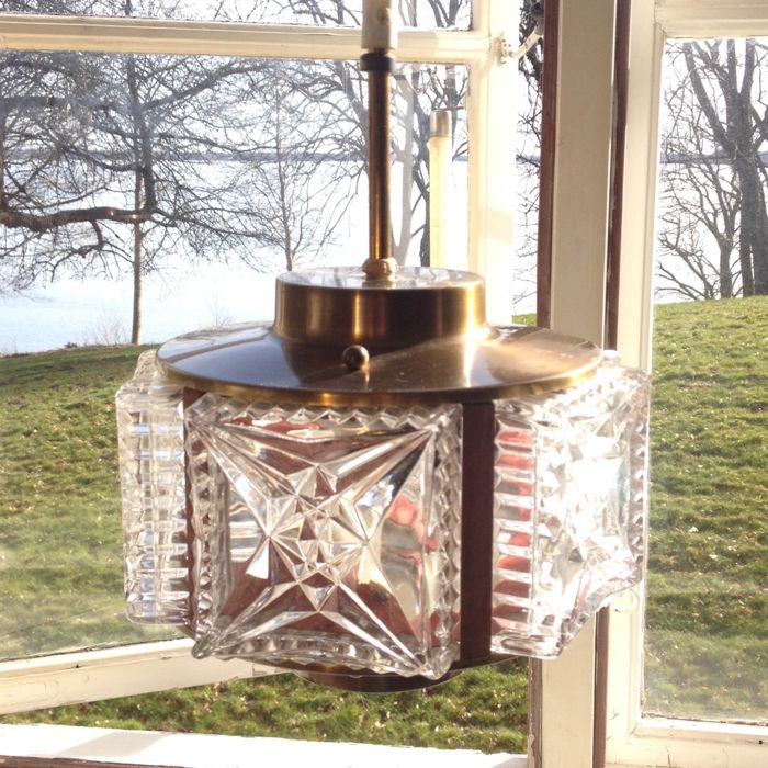 Unknown designer -  Brass and Glass Ceiling Light / Pendant Hanging Lamp