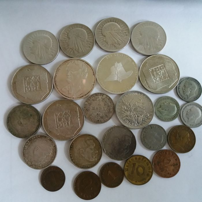 World – Lot of various coins (25 pieces) – including 18 silver