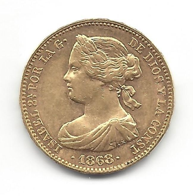 Spain - 10 Escudos of gold - Madrid 1868