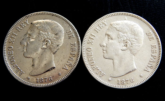 Spain - Alfonso XII - 5 Pesetas ears 1876 *-76 and 1876 *18-76 variant  scratched ear - 2 Coins - Silver