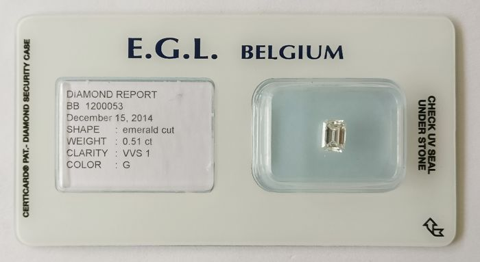 0.51 ct Emrald Cut Diamond G VVS1 *** Low Reserve ***
