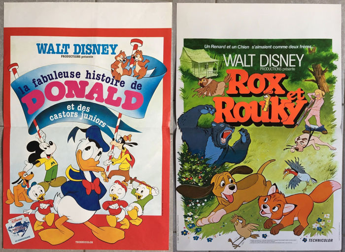Disney - 2 original French movie posters - Rox et Rouky, Donald / The Fox and the hound, Donald Duck (1975/1981)