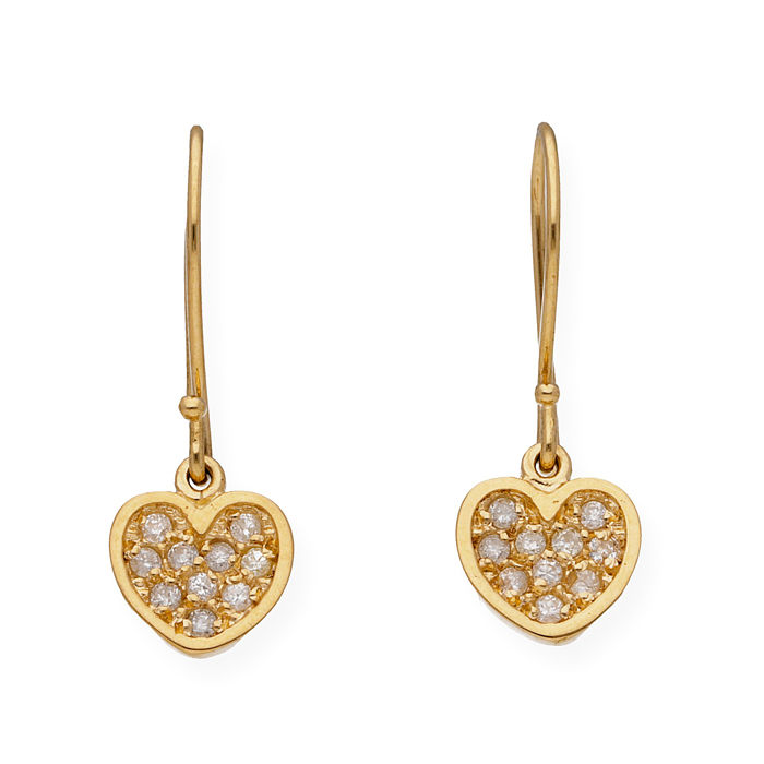 18 kt yellow gold - Earrings - Diamonds of 0.30 ct - Earring height: 22.45 mm