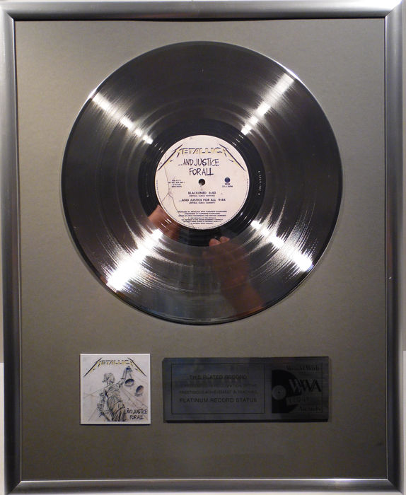 "Metallica - ... and Justice for all - 12"" Vertico Record platinum plated record by WWA Awards"