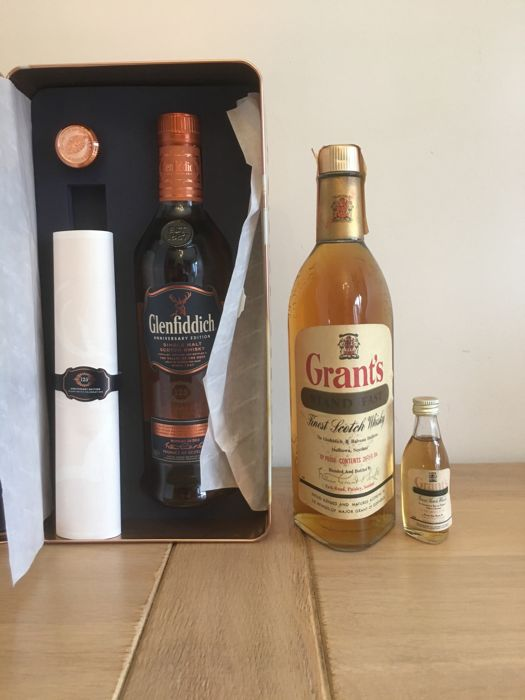 2 bottles - Glenfiddich 125th Anniversary & Old Grant's Stand Fast 26 2/3 Fl Oz (bottled 1960s) with matching miniature
