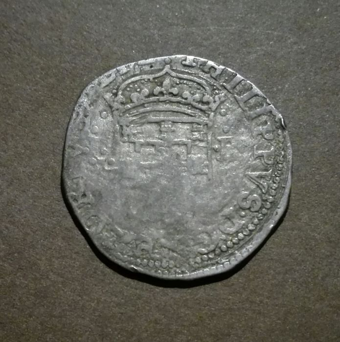Portugal, Monarchy - Filipe II (1598-1621) - Tostão (100 Reais) - Lisbon -Loose Cross - Silver - Scarce
