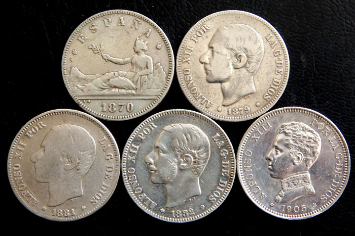 Spain - Provisional Government, Alfonso XII & Alfonso XIII - 5 coins of 2 Pesetas in silver years: 1870, 1879, 1881, 1882 & 1905