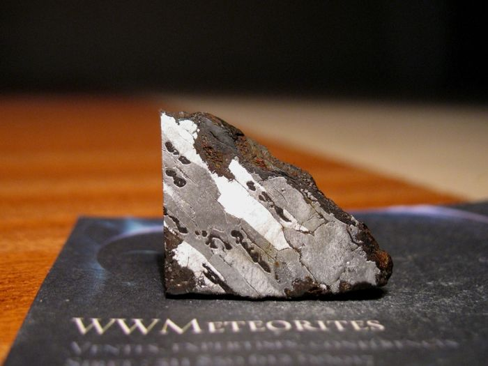 Morasko - Nickel/Iron (Octahedrite IABN-MG) meteorite from Poland with Schreibersite (Fe, Ni)₃P Inclusions - Slice