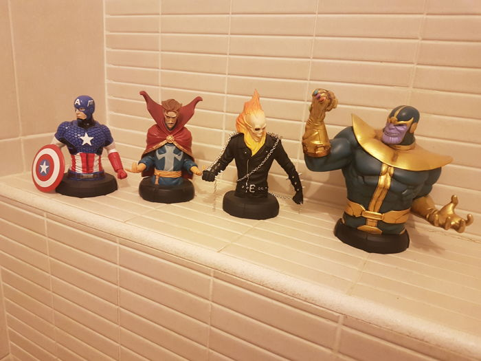 Marvel Comics - Resin Busts - Thanos, Ghost Rider, Doctor Strange, Captain America