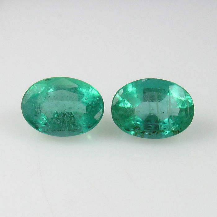 Pair of emeralds 0.92 + 0.92 Ct. = 1.84 Ct.
