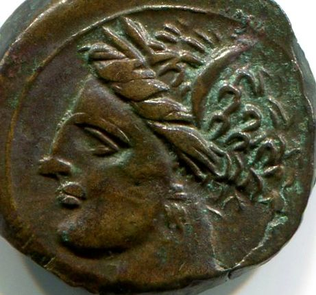 Greek Antiquity - Carthage, Sicily & Sardinia mint. AE Punic Half Unit - Struck 350-300 B.C. - Tanit / Horse & palm tree