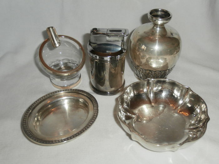 Lot of Italian silverware, including a lighter - Italy, 1940s/80s