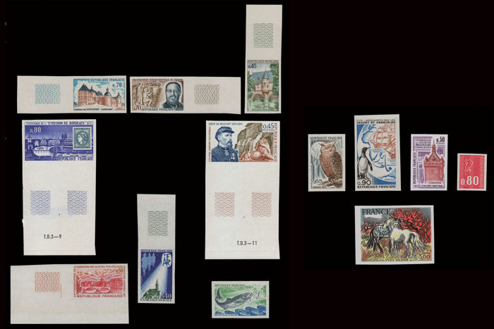 France 1969/1978 - Lot of 13 imperforate stamps from different issues