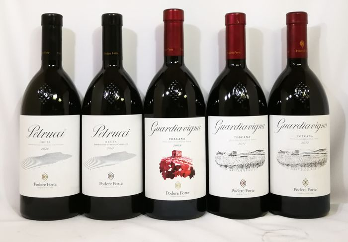"2009, 2011, 2012 Podere Forte ""Guardiavigna"" & 2011, 2012 Podere Forte ""Petrucci"" Limited Production - 5 bottles(75cl)"