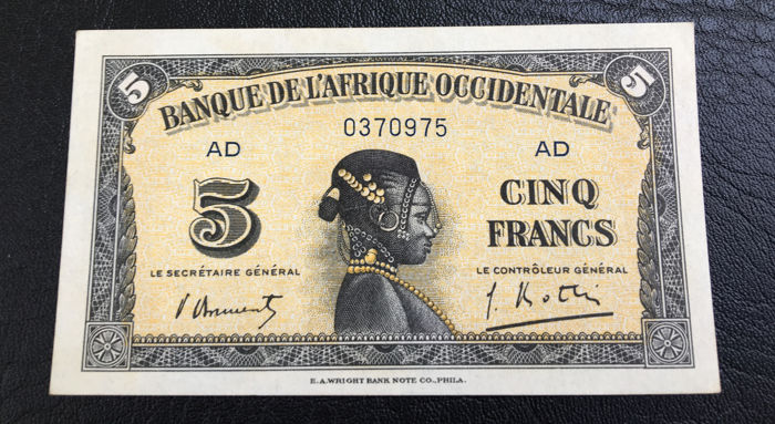 French West Africa- WWII- 5 Francs 14.12.1942- Pick- 28