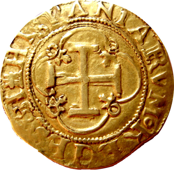 Spain - Juana and Carlos (1504 – 1516 – 1555), 1 Escudo in gold Seville (square mint mark without top clasp /S) Very scarce, beautiful!