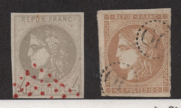 France 1870 - Bordeaux Type with uncommon cancellations on Yvert 41B and 43A signed Calves