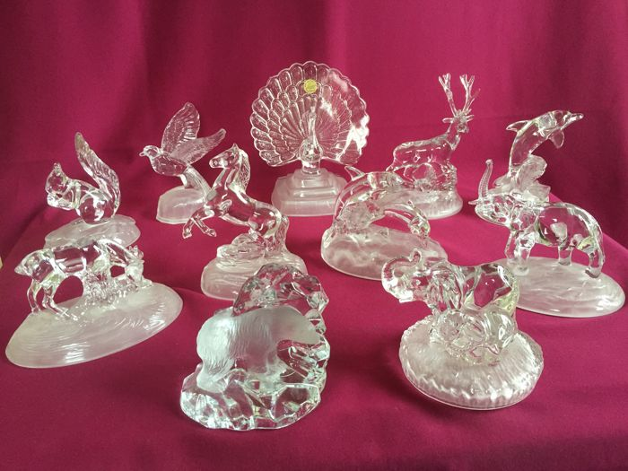 Cristal Darques France.Collection Of 11 Crystal Animals Cristal D Arques France 24 Pbo