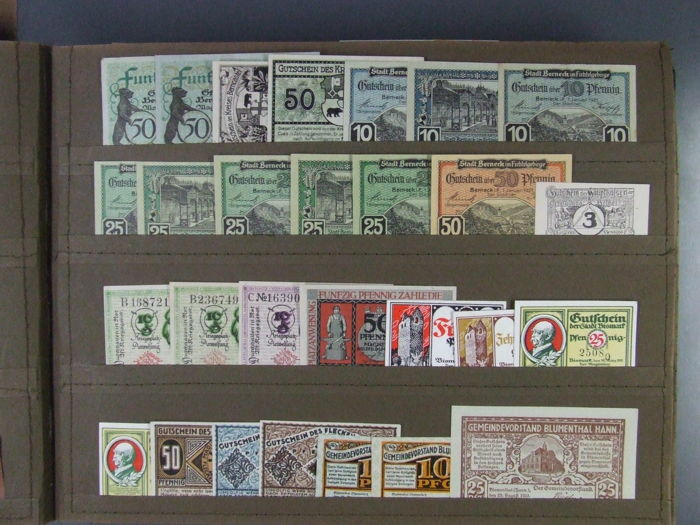 Germany - 280 assorted emergency currency note collection - part III