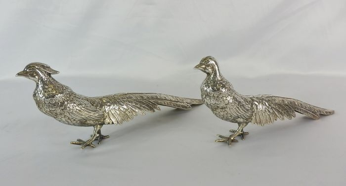Large and heavy pair of silver pheasants - Spain - mid 20th century