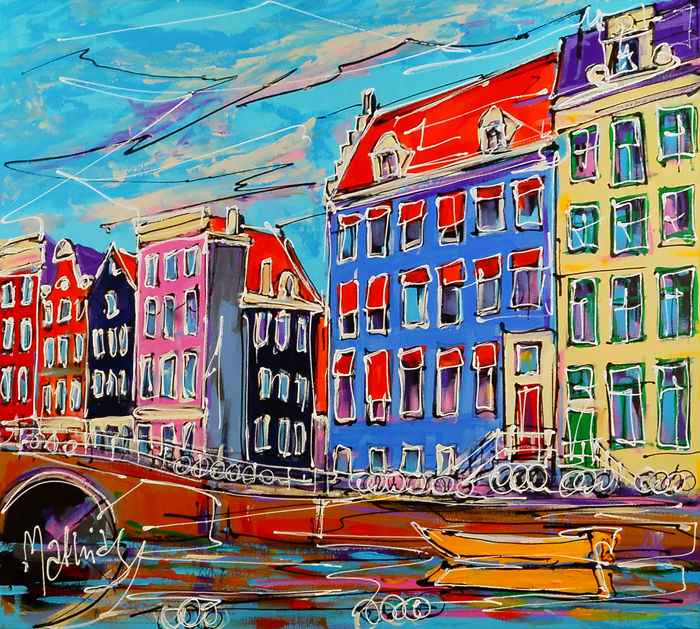 Mathias - Canal of Amsterdam, typical houses and bridge